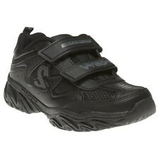 New Infants Skechers Black Ragged Dox Leather Shoes Slip On Velcro