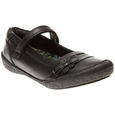 New Girls Hush Puppies Black Twirling Leather Shoes Velcro