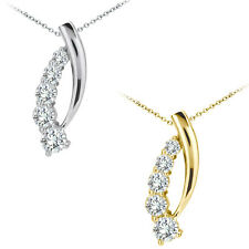 "1 Carat G-H SI2 Diamond Journey Strands Pendant 18"" Chain 14K White Yellow Gold"