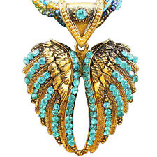 Antique Bronze Plated Handmade Millet Chian Crystal Angel Wing Pendant Necklace