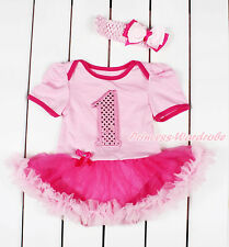 Light Pink Sparkle 1ST Bodysuit Hot Light Pink Skirt Girl Baby Dress NB-18Month