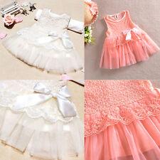 Baby Girls Kids Party Lace Flower Bow Bowknot One Piece Formal Dress Skirts 0-3Y