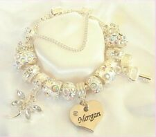 CHILDRENS/GIRLS XX SPARKLE  AB & SILVER NAME CHARM BRACELET GIFT BOXED NAMES A-E