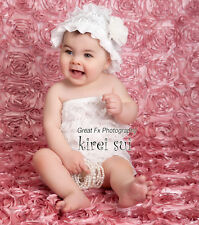 Baby Girls White Lace Petti Rompers Romper Lace Hat 2pc Set NB-24M