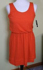 NWT New Directions Orange slub jersey scoop neck blouson summer dress