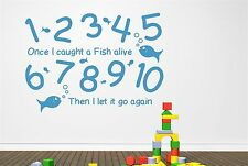 1 2 3 4 5 Once I Caught A Fish Alive Wall Stickers Decals Art kids
