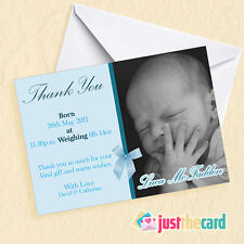 8 Personalised Baby Thank You cards Announcements