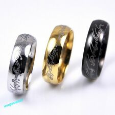 Hot Sale Lord of the Rings Stainless Steel Mens Women Band Ring Gold/Black Color