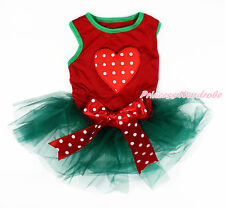 Valentine Red White Dot Heart Hot Red Sleeveless Teal Green Pet Dress Dog Outfit