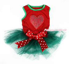 Valentine Red Sparkle Heart Sleeveless Teal Green Pet Dress & Bow Dog Outfit