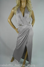 Karen Millen Grey Fluid Chain Embellished Split Maxi Evening Party Dress 6 - 16