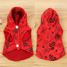 Puppy Dog Cat Fleece Red Hoodie Sweater Pet Clothes Winter Apparel Coat Jacket