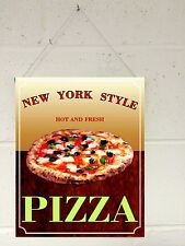 4131 NEW YORK STYLE PIZZA TAKEAWAY VINTAGE STYLE SUEDE HANGING WALL SIGN