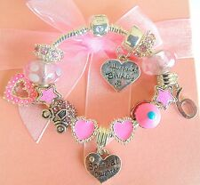 PERSONALISED HAPPY BIRTHDAY CHILDRENS/GIRLS CHARM BRACELET SPARKLING BEADS BOXED