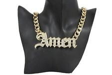 Women Gold Metal Chain Jewelry Trendy Fashion Necklace Amen Religious Pendant