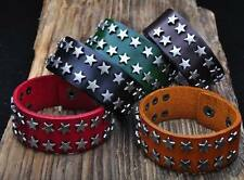 S409 Cool Double Row Metal Star Studded Leather Bracelet Wristband Cuff 5-Colors