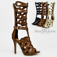 New Strappy Adjustable Buckle Gladiator Mid Calf Cut Out Stiletto High Heel
