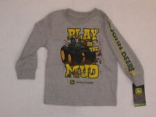 "NWT JOHN DEERE Boys 2T 3T 4T Shirt Tee T Long Sleeve Gray ""Play In The Mud"""