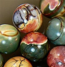 NATURAL AAA 4/6/8/10/12/14MM PICASSO JASPER GEMSTONE ROUND LOOSE BEADS 15 ""
