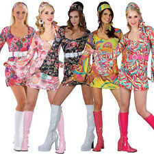 Adult Ladies Hippy Fancy Dress Costume 1960s-1970s Womens Hippie Outfit UK 6-24