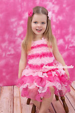 Baby Girl Light Hot Pink Ruffles Tank Top Light Hot Pink Petal Pettiskirt NB-8Y