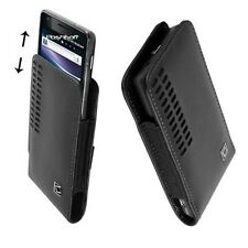 Leather OPEN TOP Case Cover Pouch for ALCATEL Phones. +Holster Belt Clip, Black