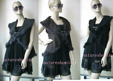 free  shipping Real rabbit fur knitted stole with sleeves/vest/slim fit style