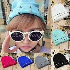 Women Men Unisex Beanie Hat Cone Spike Studded Punk Rivet Warm Knitted Candy Cap