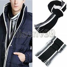 Fashion Men Winter Warm Striped Fringed Knit Wool Soft Long Scarf Classic Tassel
