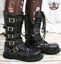 14 Hole Gothic Punk Calf Buckle Strap Vegan Faux Leather Biker Motorcycle Calf