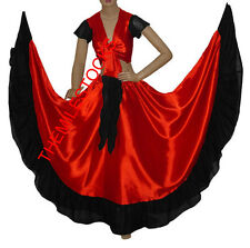 TMS RED/BLACK Designer Ruffle Skirt + Top Set Belly Dance Costume Gypsy Flamenco