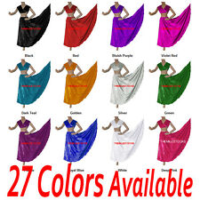 TMS Satin Skirt + Veil Set Belly Dance Costume Tribal Gypsy Club Dress |27 Color