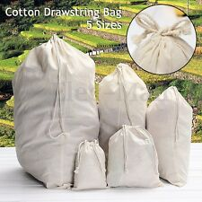 Drawstring Lock Cotton Storage Bag Pouch Laundry Craft Tidy Stuff Toys 5 Sizes
