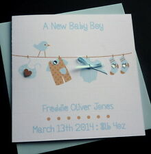 Handmade Personalised New Baby Washing Line Card / pink or blue