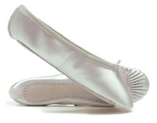 White Satin Suede Full Sole Ballet Shoes Childs & Adults All Sizes By Katz