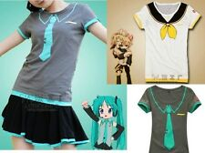 Vocaloid Hatsune Miku/Kagamine Rin/Len T-Shirt Cosplay Lady Girls Summer Wear V+