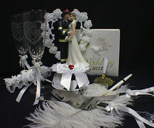 FIREFIGHTER Fireman YOUR Choice: Wedding Cake Topper, Glasses Server, Guest Book