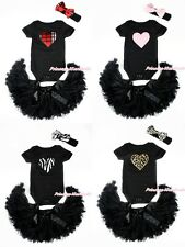 Valentine Heart Black Baby Jumpsuit Romper Pettiskirt Skirt 3PC Set Cloth NB-12M
