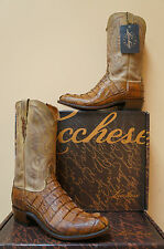 MENS LUCCHESE BOOTS TAN BURNISH HORNBACK CAIMAN TAIL ANTIQUE SADDLE N1108.R4