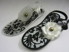 F0482 - LadieS Jelly Sandals Toe Post Flower Detail - Black or White