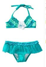 NWT Love U Lots girls size 6 10 jade green ruffle bikini swimsuit set