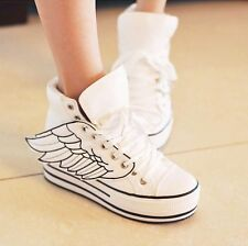 Woman's angel wings shoes with large base White high help sports shoes