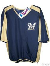 Milwaukee BREWERS MLB AUTHENTIC MAJESTIC PULLOVER JACKET Short Sleeves L NWT