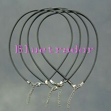 Silver Round Genuine Leather Cord Necklace Choker w/ Lobster Clasp * Rubber cord