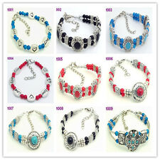 Free shipping 1pc Handmade Colorful Tibetan silver beaded Design charm bracelet