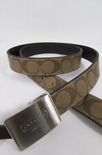 New Coach Men Brown / Black Leather Signature Belt $148 F66111 One Size Fits All