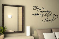 Begin Grateful Heart Wall Decal Vinyl Quote Wall inspirational quotes