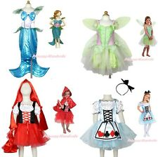 Princess Mermaid Bell Fairy Alice Girl Party Costume Outfit Cosplay Gift 2-12Y