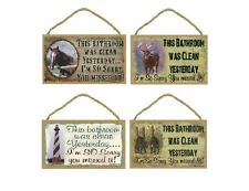 """5"""" x 10"""" Wooden Sign Plaque Clean Bathroom Sorry You Missed It funny humor decor"""
