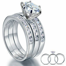 Sterling 925 Silver 3Ps Wedding Engagement Ring Set 2 Ct Created Diamond FR8101